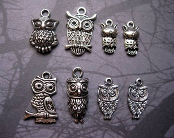 8 owl charms in silver tone / collection - C1586