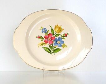 "Vintage Floral Platter. Universal Cambridge. ""Laurella"" Camwood. 1940s. Ivory Pink Blue Yellow Flowers"