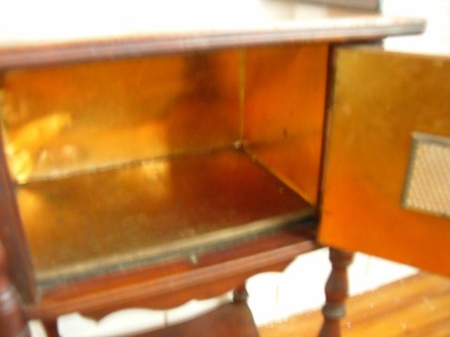Antique Cigar Stand Humidor Copper Lined By