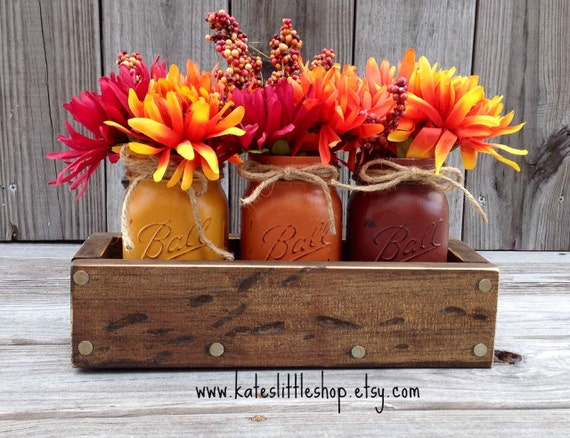 Fall rustic planter box with painted mason by
