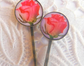 Pink Rose Hair Clips Bobby Pins.