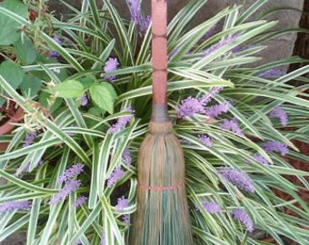 Vintage Hand Carved Straw Broom Whisk Folk Art Wood Broom Berea Broom