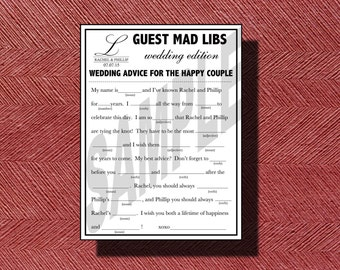 Printable Wedding Mad Libs A Fun Guest Book Alternative Wedding Ad Libs