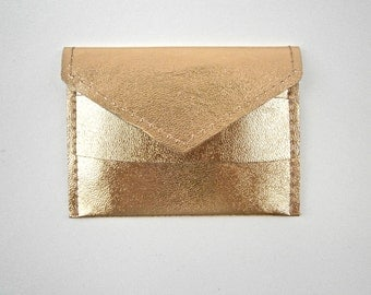 Vintage Gold Metallic Mirror Pouch Faux Leather Compact Portable Makeup Cosmetic Carry Case Real Glass Golden Purse Size Slim Wallet