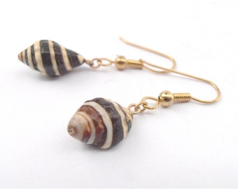 Vintage Moroccan Zebra Brown Shell Earrings Mini White Stripes Dangling Tiny Rare Villacollezione Villa Collezione Boutique