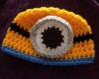 baby minion inspired hat, Newborn or 0-3 months, made to order, newborn photography prop, baby gift, baby shower