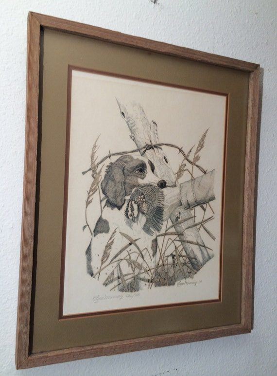 Vintage Gene Murray Lithograph Art Print Hunting Dog With Bird