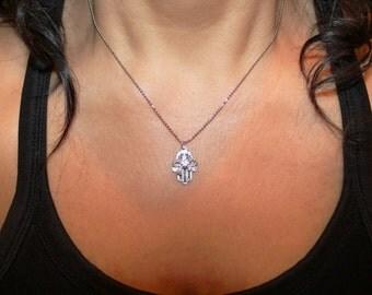 Hamsa necklace, Charm necklace, evil eye jewelry, silver necklace, Hamsa charm necklace, silver hamsa, small hamsa
