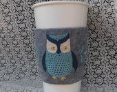 ON SALE owl coffee cozy hand embroidered felt, stocking stuffer