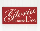 Gloria in Excelsis Deo Christmas Decoration Christmas Painting Christmas Wall Decor Christmas Artwork Dark Red