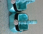 Extra small  Flower Girl Baskets  made especially for small child Aqua Blue with Black Accent and Bling