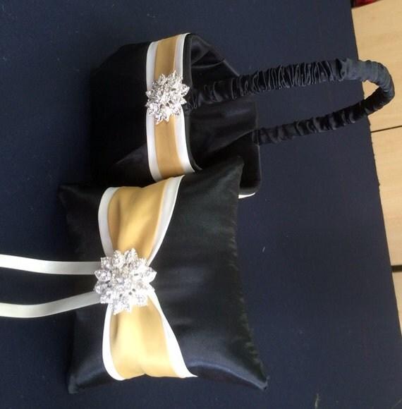 Flower Girl Baskets Black : Black with ivory and gold flower girl basket ring