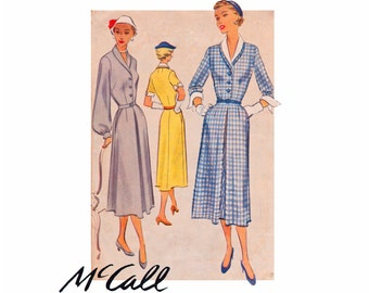ON SALE DRESS 1950s Vintage Sewing Pattern Dress Size 16 bust 34 Misses inverted skirt pleat sleeve options detachable collar McCall 8113