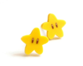 Miniature Mario Star Post Earrings - Cute Gift Idea