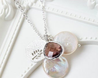 Silver Plum and Pearl Charm Cluster Necklace