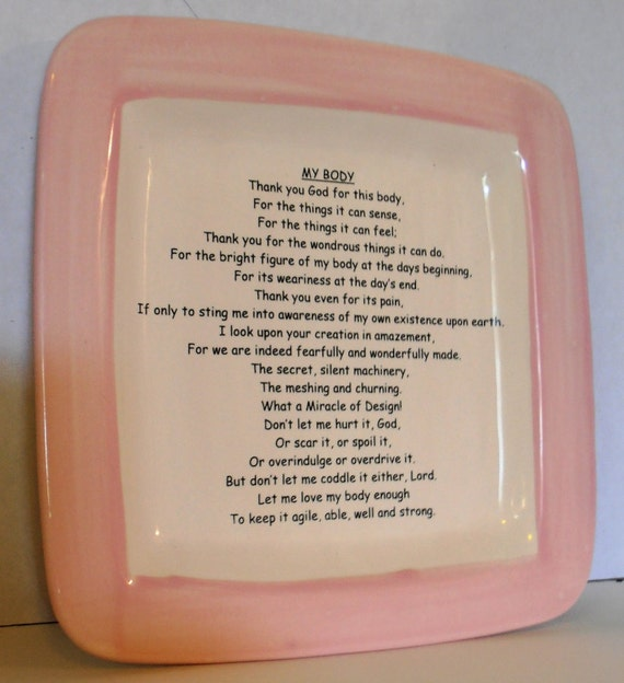 My Body Poem Prayer Tray in Pink and Cream #BCT014