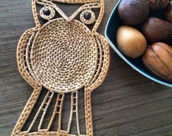 Vintage Wicker Owl Wall Hanging