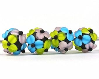 Handmade Lampwork Flower Bead Set - 4 beads - etched