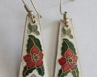 75% OFF SALE - vintage floral butterfly cloissone earrings . unsigned