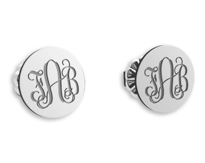 Monogram Earrings -Sterling Silver, initial earrings, Personalized Earrings, Bridesmaid Earrings, stud Earrings