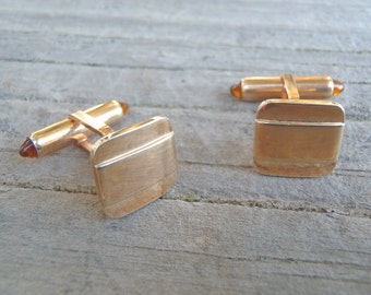 Vintage Krementz Gold Tone Cuff Links Cufflinks Rounded Squares Wide Horizontal Band Formal Wear Groom Wedding Fashion 1950s Accessory Men