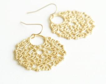 Moroccan Lace Earrings Gold Earrings Dangle Earrings Bridal Earrings Wedding Earrings Bridesmaid Jewelry Bridesmaid Earrings Gold Filigree