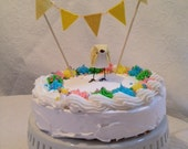 Yellow Custom Baby Shower Cake Topper with Bunting. Gender Neutral! Baby Shower! -MADE TO ORDER!