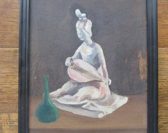 Vintage 1950's Painting of Statue, Japanese woman, Asian Relic
