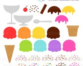 Ice Cream Clipart Set - build your own ice cream clipart set, ice cream clip art set - personal use, small commercial use, instant download