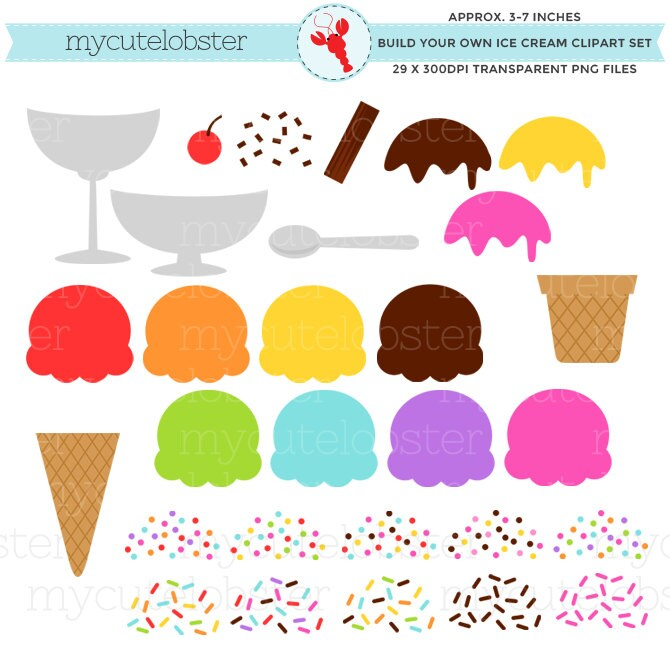 Ice Cream Clipart Set Build Your Own Ice Cream Clipart Set