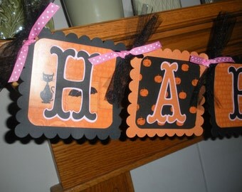 Halloween Pumpkins Spiders Pink Happy Birthday Banner and Matching Poms Available