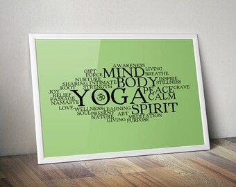 "Fitness Decor Art Print ""Words About Yoga"" Typographic Collage"