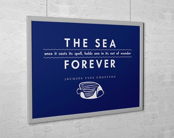 "Beach Decor ""The Sea"" Jacques Cousteau Quote Fish Ocean Print"