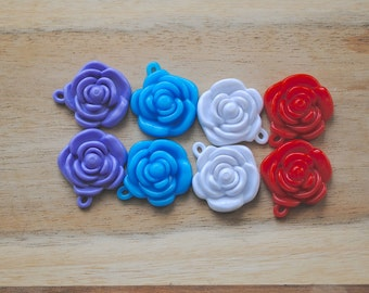 S A L E Cabochon Resin Flower Charm - Set of 8-