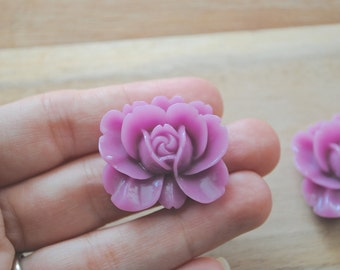 SALE  Large Cabochon Resin Flower Charm - Set of 3- rose bud