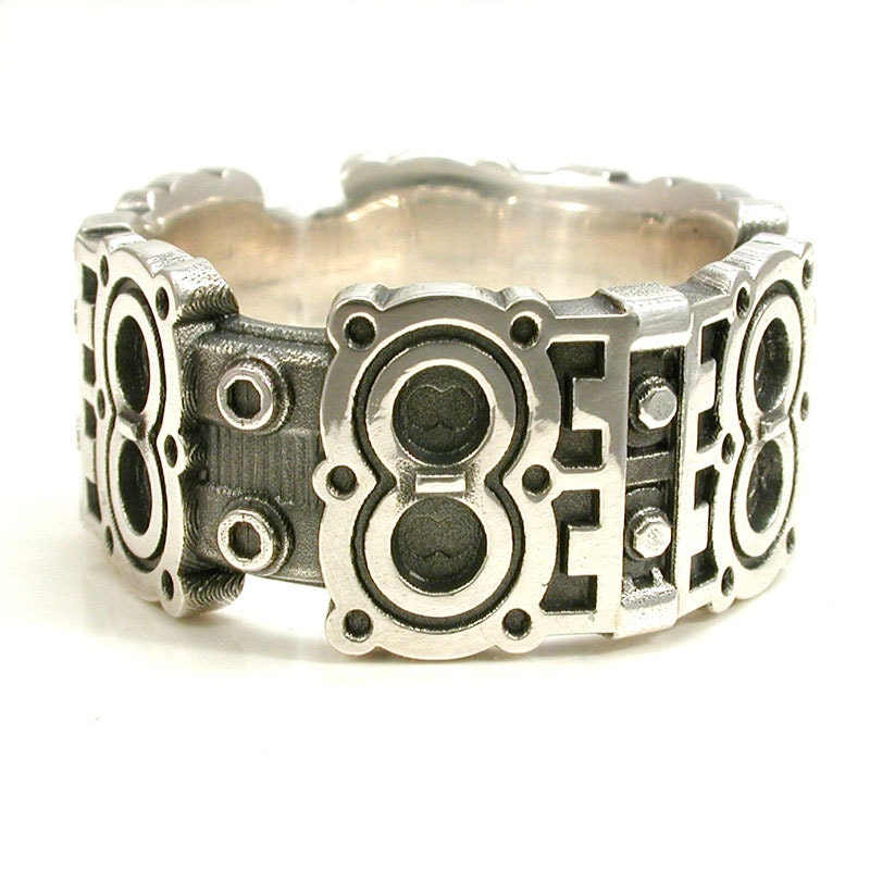 V8 Engine Glass Table: Engine Block Ring Industrial Steampunk Sterling Silver
