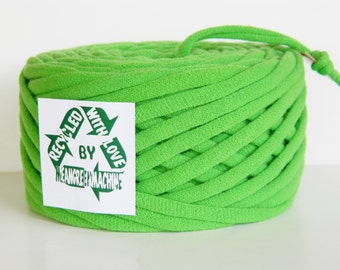 Lime/Green Apple 48.5 Yrds Recycled T-Shirt Yarn, T Shirt Yarn, Bulky