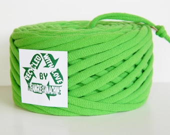 Lime/Green Apple 21 Yrds Recycled T-Shirt Yarn, T Shirt Yarn, Bulky
