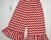 Custom Boutique Toddler Girls Red Chevron Ruffle Pants