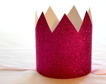 Pink Princess Party Crown - Set of 6- Kids Paper Crown - Pink Crown, Anna Crown, Magenta Crown, Pink Birthday Crown, Pink Sparkle Crown
