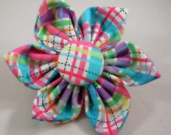 Dog Flower, Dog Bow Tie, Cat Flower, Cat Bow Tie - Pink Biasplaid