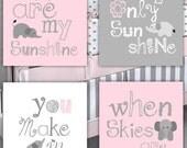 Kids Wall Art // Pink and Gray Nursery Decor // Nursery Art Prints // You Are My Sunshine Elephant Art // 4-8x10 PRINTS ONLY