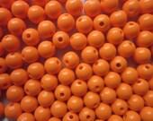 SALE - Orange Acrylic Beads Opaque Round Plastic 8mm 20 Beads