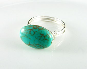 Wire Wrapped Ring Turquoise Ring Nickel Free Ring Silver Wire Ring Wire Wrap Jewelry Turquoise Jewelry