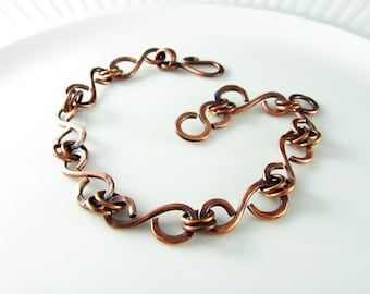 Wire Wrapped Jewelry Copper Bracelet Wire Wrapped Bracelet Copper Jewelry Link Bracelet