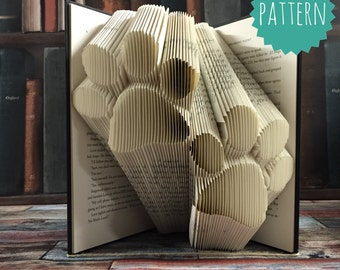 Folded Book Art Paw Print Pattern & tutorial, gift, decoration