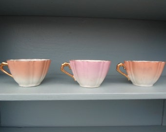 Vintage Set of Three Demitasse Cups Scalloped Pink/Peach 1940s to 1950s Gold Handles Tiny Wavy Porcelain