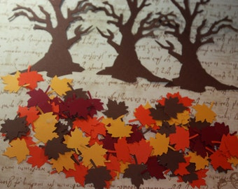 Tree and  Maple Leave Confetti/ Die Cut/ Cutout /Autumn /Fall   CHOOSE COLORS