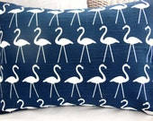 Navy Flamingo Lumbar Pillow COVER Nautical  DecorativeThrow Pillow All Sizes Beach Cushion Cover Couch Pillow Nursery Pillow Bed Coastal