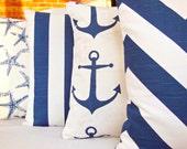 "Navy White Beach Pillow Decorative Throw Pillow COVER Nautical Cushion Navy Pillows 18"" Couch Sofa Pillow Bedding Cushion Coastal Cottage"